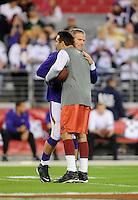 Dec 6, 2009; Glendale, AZ, USA; Minnesota Vikings quarterback Brett Favre (left) embraces Arizona Cardinals quarterback Kurt Warner prior to the game at University of Phoenix Stadium. Mandatory Credit: Mark J. Rebilas-