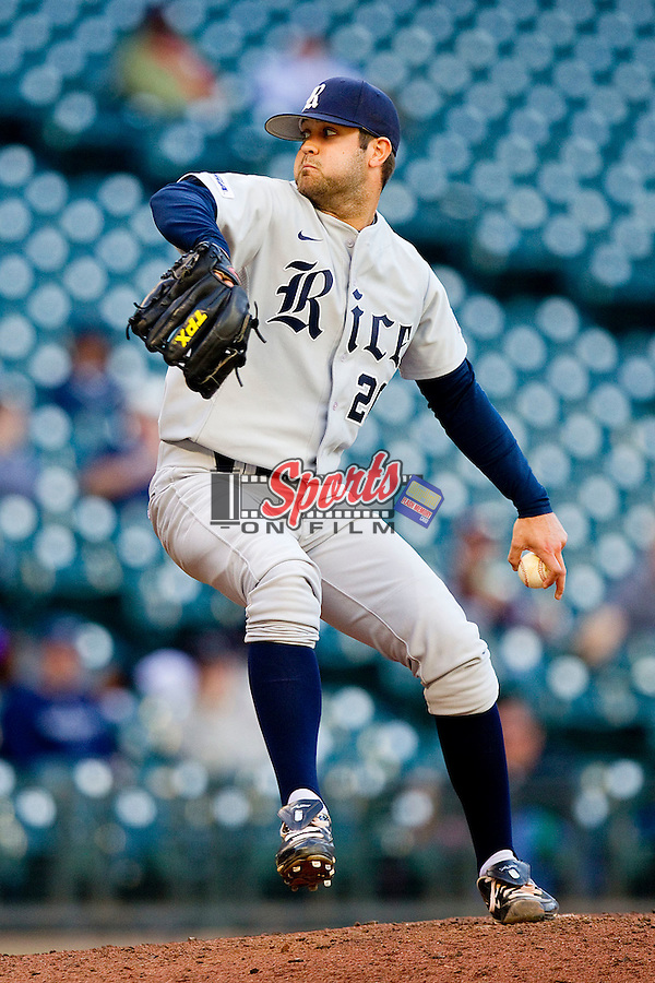 Relief pitcher Taylor Wall #26 of the Rice Owls in action against the Baylor Bears at Minute Maid Park on March 6, 2011 in Houston, Texas.  Photo by Brian Westerholt / Four Seam Images