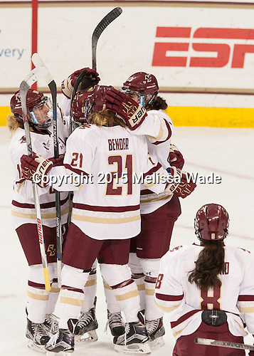 Toni Ann Miano (BC - 18), Makenna Newkirk (BC - 19), Andie Anastos (BC - 23), Lexi Bender (BC - 21) - The Boston College Eagles defeated the visiting UConn Huskies 4-0 on Friday, October 30, 2015, at Kelley Rink in Conte Forum in Chestnut Hill, Massachusetts.