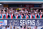 Japan Rugby Squad celebrating their qualification during the HSBC World Rugby Sevens Series Qualifier Final match between Germany and Japan as part of the HSBC Hong Kong Sevens 2018 on 08 April 2018 in Hong Kong, Hong Kong. Photo by Marcio Rodrigo Machado / Power Sport Images