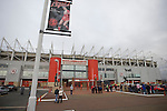 Middlesbrough 1 Preston North End 1, 22/01/2011. Riverside Stadium, Championship. A banner celebrating former player and current manager Tony Mowbray on a lamppost outside Middlesbrough FC's Riverside Stadium on the day the club played host to Preston North End in an Npower Championship fixture. The match ended in a one-all draw watched by a crowd of 16,157. Middlesbrough relocated from their former home at Ayresome Park in 1995. Photo by Colin McPherson.