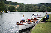 Henley on Thames, United Kingdom. 2016 Henley Masters' Regatta. Henley Reach. England. on Saturday  09/07/2016   [Mandatory Credit/ Peter SPURRIER/Intersport Images]<br /> <br /> Umpire Launch. &quot;Bosporos&quot;,  Rowing, Henley Reach, Henley Masters' Regatta.<br /> <br /> General View,  Henley Reach, venue, for the 2016 Henley Masters Regatta.