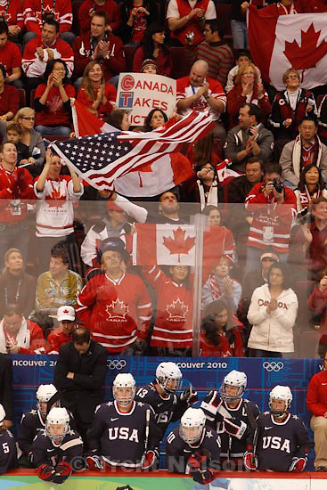 Trent Nelson  |  The Salt Lake Tribune.Canada defeats Team USA in the gold medal game, women's Ice Hockey at the Canada Hockey Place, Vancouver, XXI Olympic Winter Games, Thursday, February 25, 2010. fans