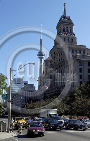 Toronto, Ontario, Canada - 08 August 2006 -- Building / seat of Canada Life (insurance company) with CN Tower in the back -- landmark, infrastructure, architecture, enterprise -- Photo: Horst Wagner / eup-images