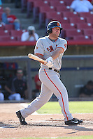 Tyler Horan (50) of the San Jose Giants bats during a game against the High Desert Mavericks at Mavericks Stadium on June 14, 2015 in Adelanto, California. High Desert defeated San Jose, 7-5. (Larry Goren/Four Seam Images)