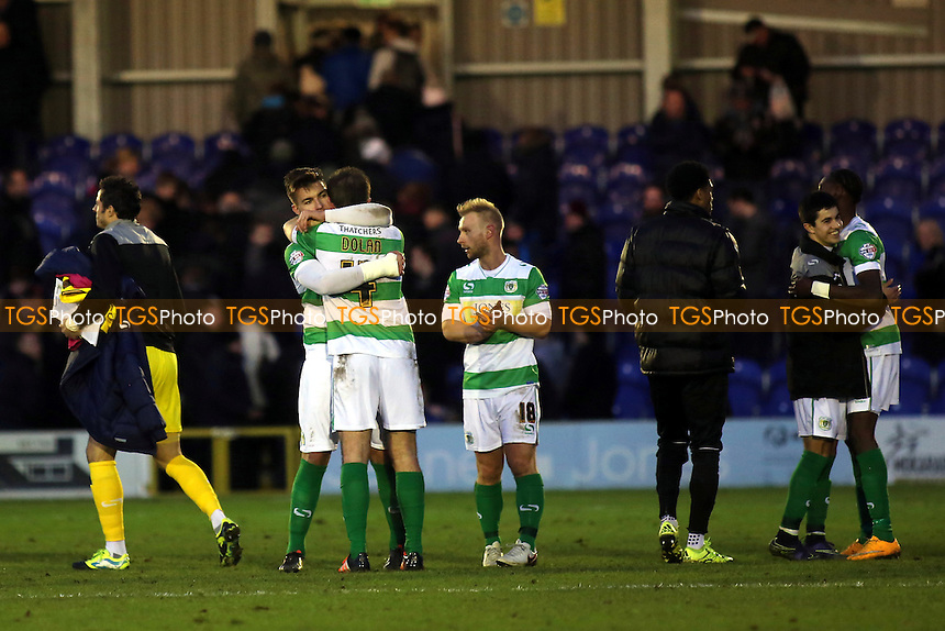 Yeovil players celebrate their 3-2 victory at AFC Wimbledon at the final whistle during AFC Wimbledon vs Yeovil Town, Sky Bet League 2 Football at the Cherry Red Records Stadium