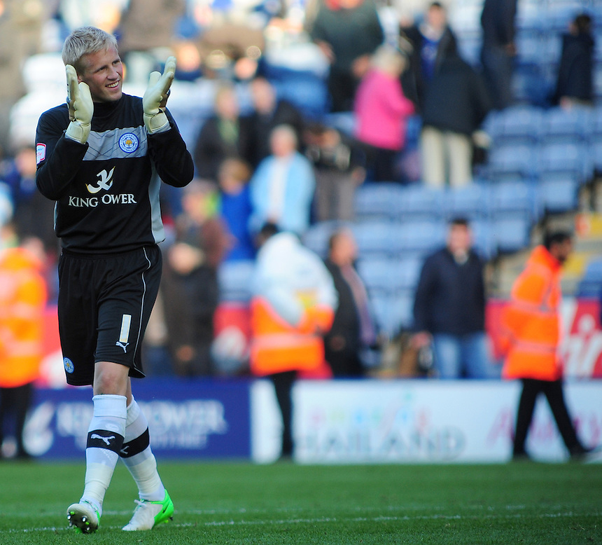Leicester City's Kasper Schmeichel applauds the fans at the end of his sides 2-0 win over Bristol City..Football - npower Football League Championship - Leicester City v Bristol City - Saturday 6th October 2012 - King Power Stadium - Leicester..