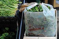 Progetto Scec.Solidarietà che cammina.Banco di frutta e verdura. Fruit and vegetables stand.Busta di plastica biodegradabile....