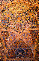World Civilization:  Islamic Architecture--Isfahan, Iran.  Masjid-i-Shah.  Detail of enameled faience ornament.