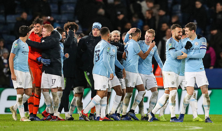 Manchester City players celebrate victory after a penalty shoot out<br /> <br /> Photographer Andrew Kearns/CameraSport<br /> <br /> English League Cup - Carabao Cup Quarter Final - Leicester City v Manchester City - Tuesday 18th December 2018 - King Power Stadium - Leicester<br />  <br /> World Copyright © 2018 CameraSport. All rights reserved. 43 Linden Ave. Countesthorpe. Leicester. England. LE8 5PG - Tel: +44 (0) 116 277 4147 - admin@camerasport.com - www.camerasport.com