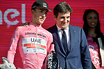Race leader Valerio Conti (ITA) UAE Team Emirates retains the Maglia Rosa at the end of Stage 11 of the 2019 Giro d'Italia, running 221km from Carpi to Novi Ligure, Italy. 22nd May 2019<br /> Picture: Marco Alpozzi/LaPresse | Cyclefile<br /> <br /> All photos usage must carry mandatory copyright credit (© Cyclefile | Marco Alpozzi/LaPresse)