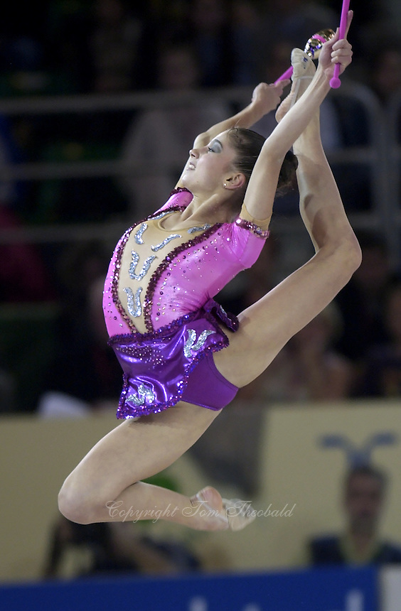 October 20, 2001; Madrid, Spain:  SIMONA PEYCHEVA of Bulgaria leaps with clubs at 2001 World Championships at Madrid.