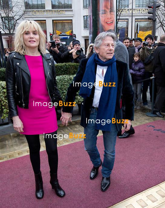 Emmanuelle Seigner et Roman Polanski arrivent au  D&eacute;jeuner des nomm&eacute;s &agrave; la c&eacute;r&eacute;monie des C&eacute;sar 2014, au Fouquet's &agrave; Paris.<br /> France, Paris, 8/02/2014