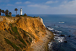 Point Vicente Lighthouse on top of coastal cliffs at Point Vicente, Palos Verdes Peninsula, California