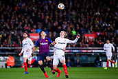 30th January 2019, Camp Nou, Barcelona, Spain; Copa del Rey football, quarter final, second leg, Barcelona versus Sevilla; Luis Suarez of FC Barcelona challenges for the header against Kjaer of Sevilla CF