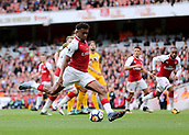 1st October 2017, Emirates Stadium, London, England; EPL Premier League Football, Arsenal versus Brighton; Alex Iwobi of Arsenal scores his sides second goal, 2-0 Arsenal