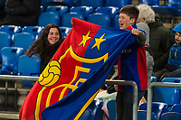 27th February 2020; St Jakob Park, Basel, Switzerland; UEFA Europa League Football, FC Basel versus APOEL Nicosia; Two young FCB fans cheer on their team during the match