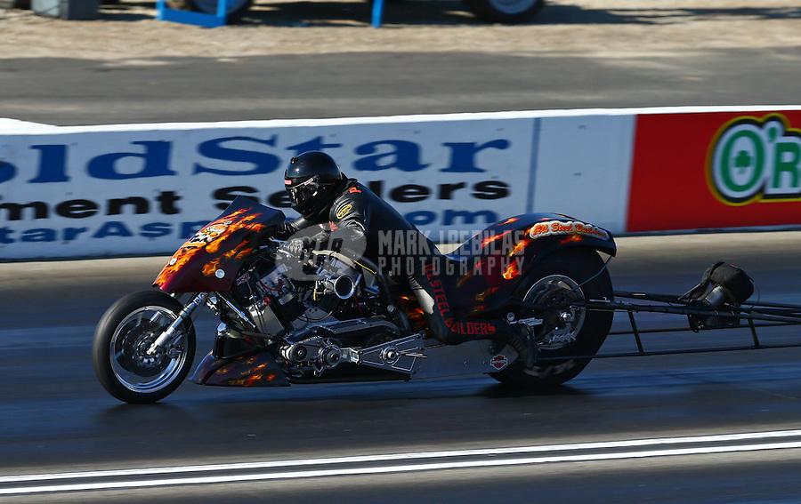 Feb 8, 2015; Pomona, CA, USA; NHRA top fuel Harley motorcycle rider XXXX during the Winternationals at Auto Club Raceway at Pomona. Mandatory Credit: Mark J. Rebilas-