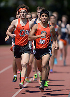 Apr 11, 2015; Los Angeles, CA, USA; Colin Smith (left) and Jovani Barajas of Occidental College lead the 1,500m in a SCIAC multi dual meet at Occidental College. Smith won in 4:06.56. Photo by Kirby Lee