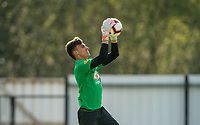 Goalkeeper Marcelo de Araujo Pitaluga Filho of Brazil pre match during the Under 18 International friendly match between England U18 & Brazil U18 at Hednesford Town Football Club, Keys Park, Cannock on 8 September 2019. Photo by Andy Rowland.