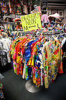 "Hawaiian shirts (aka ""aloha shirts"") from the 1960s and 1970s for sale at Bailey's Antiques and Aloha Shirts store in Honolulu, Hawaii"