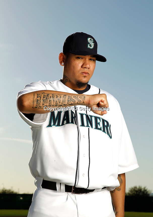 GLENDALE, AZ - FEBRUARY 17: Felix Hernandez #34 of the Seattle Mariners poses during a portrait session on February 17, 2013 in Glendale, Arizona. (Photo by Chris Covatta/MLBPA via Getty Images) *** Local Caption *** Felix Hernandez