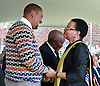 05.12.2014; Pretoria, South Africa: GRACA MACHEL GREETS NKOSI ZWELIVELILE MANDLA MANDELA<br /> the son of Nelson, at the Nelson Mandela Day of Remembrance - Wreath Laying Ceremony held at Union Buildings, Pretoria.<br /> Nelson Mandela, the former President of South Africa passed away on 5th December 2013.<br /> Mandatory Credit Photo: &copy;Mbambani-DoC/NEWSPIX INTERNATIONAL<br /> <br /> **ALL FEES PAYABLE TO: &quot;NEWSPIX INTERNATIONAL&quot;**<br /> <br /> IMMEDIATE CONFIRMATION OF USAGE REQUIRED:<br /> Newspix International, 31 Chinnery Hill, Bishop's Stortford, ENGLAND CM23 3PS<br /> Tel:+441279 324672  ; Fax: +441279656877<br /> Mobile:  07775681153<br /> e-mail: info@newspixinternational.co.uk