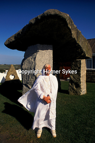 Ed and Glyniss Prynn in their megalithic garden Padstow Cornwall