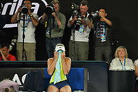 January 27, 2018: Number two seed Caroline Wozniacki of Denmark reacts after winning the Women's Final against number one seed Simona Halep of Romania on day thirteen of the 2018 Australian Open Grand Slam tennis tournament in Melbourne, Australia. Photo Sydney Low