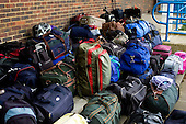 Bags & suitcases ready for school trip.  State Junior school..
