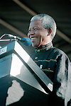 DURBAN, SOUTH AFRICA - APRIL 13: Nelson Mandela speaks to ANC supporters during an election rally on April 13, 1994 in Durban, South Africa. The pre-election rally was just weeks before the historic democratic election on April 27, 1994 that Mr. Mandela won. Mr. Mandela became the first black democratic elected president in South Africa. He retired from office after one term in June 1999. (Photo by Per-Anders Pettersson)..