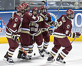Brett Motherwell, Chris Collins, Nathan Gerbe, Brock Bradford, Anthony Aiello - The Boston College Eagles defeated the University of North Dakota Fighting Sioux 6-5 on Thursday, April 6, 2006, in the 2006 Frozen Four afternoon Semi-Final at the Bradley Center in Milwaukee, Wisconsin.