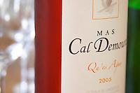 Cuvee Qu'es Aquo rose wine. Domaine Mas Cal Demoura, in Jonquieres village. Terrasses de Larzac. Languedoc. France. Europe. Bottle.