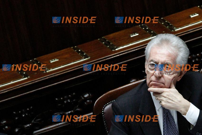 Il Presidente del Consiglio Mario Monti ..Voto di Fiducia alla Camera dei Deputati sulla nuova Manovra Economica..Roma 16 Dicembre  2011..Photo Serena Cremaschi Insidefoto..............................