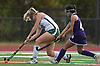 Abigail Selhorn #12 of Carle Place, left, moves a ball downfield during the Nassau County varsity field hockey Class C final against Oyster Bay at Berner Middle School in Massapequa on Sunday, Oct. 28, 2018. Carle Place won 6-0.