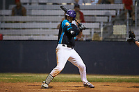 Sam Zayicek (33) (High Point) of the Mooresville Spinners is hit by a pitch with the bases loaded to force in the winning run in the bottom of the ninth inning against the Lake Norman Copperheads at Moor Park on July 6, 2020 in Mooresville, NC.  The Spinners defeated the Copperheads 3-2. (Brian Westerholt/Four Seam Images)