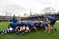 The Bath Rugby forwards practise their scrummaging during the pre-match warm-up. Aviva Premiership match, between Bath Rugby and Gloucester Rugby on October 29, 2017 at the Recreation Ground in Bath, England. Photo by: Patrick Khachfe / Onside Images