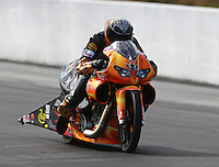 Mar 14, 2015; Gainesville, FL, USA; NHRA pro stock motorcycle rider Chaz Kennedy III during qualifying for the Gatornationals at Auto Plus Raceway at Gainesville. Mandatory Credit: Mark J. Rebilas-