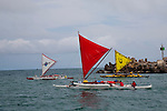 The Hawaiian Sailing Canoe Association's race from Kahului Harbor to Ka'anapali Beach on the island of Maui, Hawaii. Each canoe holds six people and are known in Hawaiian as wa'a kiakahi, which means single mast canoe.