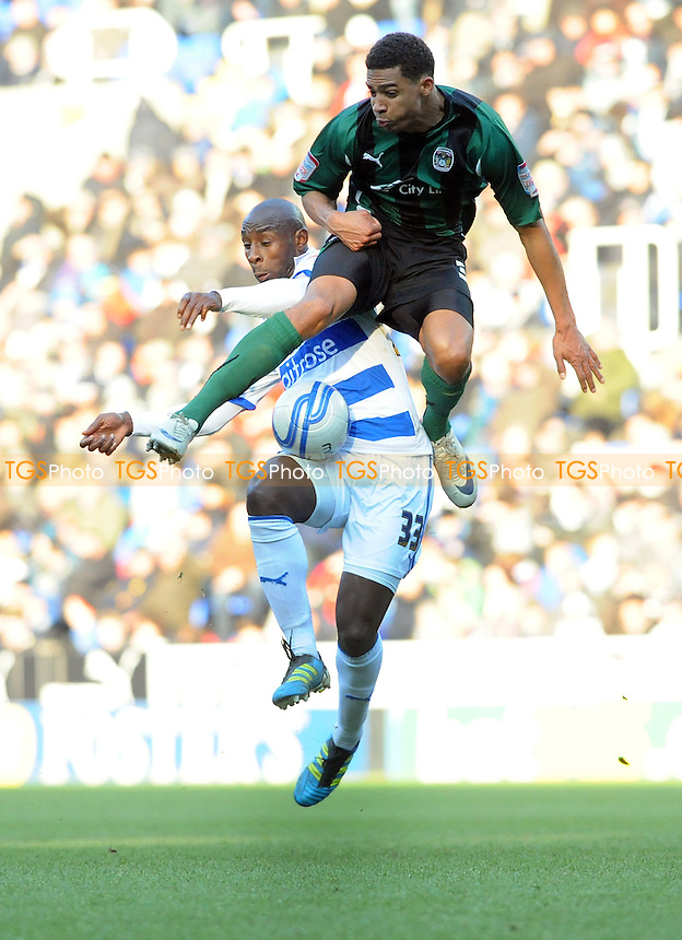 Jason Roberts of Reading tries to score but is blocked - Reading vs Coventry City - nPower League Championship Football at the Madejski Stadium - 11/02/12 - MANDATORY CREDIT: Anne-Marie Sanderson/TGSPHOTO - Self billing applies where appropriate - 0845 094 6026 - contact@tgsphoto.co.uk - NO UNPAID USE.