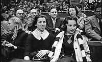 Henrietta Pedrin Gonzales (center), looks on as her husband, Pancho Gonzales, plays Australian Ken Rosewall at Madison Square Garden, New York, 1957. Photo by John G. Zimmerman