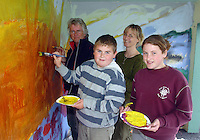 Taking part in  the Nagle Rice School Milltown  day of art on Friday were Alan Harman and Rachel Cahill with instructors Tomas O'Sullivan and Martina Felkel.<br />