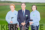 Castlegregory Golf Club Captains Drive In on Sunday. Pictured Mary Callanan, Lady President, Mike Mercer, Captain, Patricia Goodwin, Lady Captain