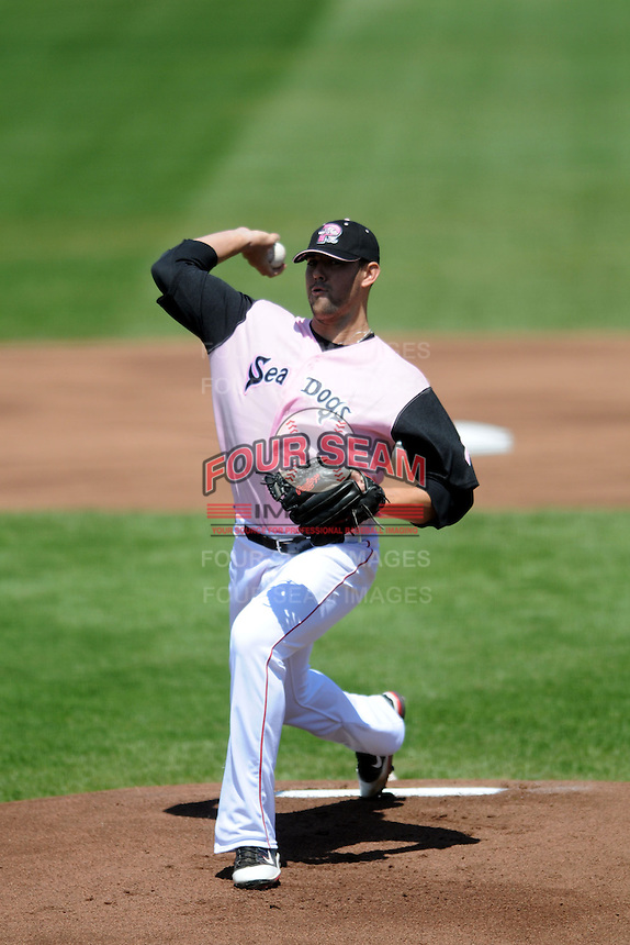 Portland Sea Dogs starting pitcher Anthony Ranaudo #43 during a game versus the Binghamton Mets at Hadlock Field in Portland, Maine on May 18, 2013.  (Ken Babbitt/Four Seam Images)