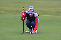 Josh Black (Lisburn) on the 12th green during Round 2 of the Ulster Boys Championship at Portrush Golf Club, Portrush, Co. Antrim on the Valley course on Wednesday 31st Oct 2018.<br /> Picture:  Thos Caffrey / www.golffile.ie<br /> <br /> All photo usage must carry mandatory copyright credit (&copy; Golffile | Thos Caffrey)