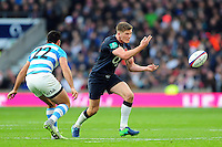 Owen Farrell of England passes the ball. Old Mutual Wealth Series International match between England and Argentina on November 26, 2016 at Twickenham Stadium in London, England. Photo by: Patrick Khachfe / Onside Images