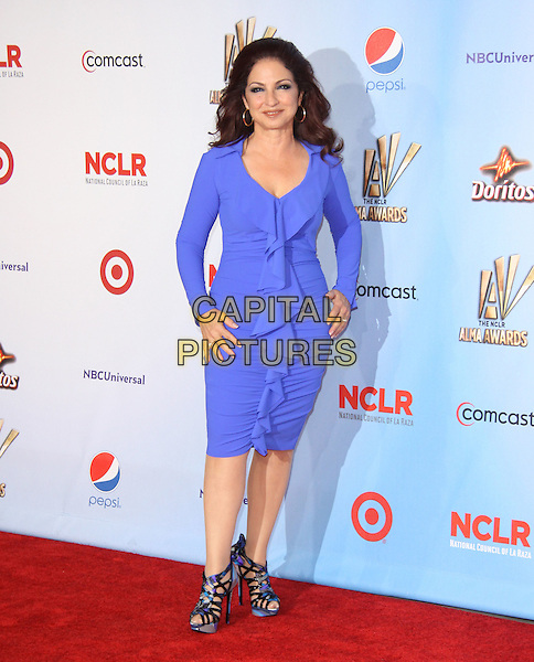 Gloria Estefan.at The 2011 NCLR ALMA Awards held at the Santa Monica Civic Auditorium in Santa Monica, California, USA, September 10th 2011.                                                                               .full length blue ruffle dress strappy sandals .CAP/RKE/DVS.©DVS/RockinExposures/Capital Pictures.