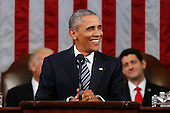President Barack Obama smiles during his State of the Union address to a joint session of Congress on Capitol Hill in Washington, Tuesday, Jan. 12, 2016. <br /> Credit: Evan Vucci / Pool via CNP