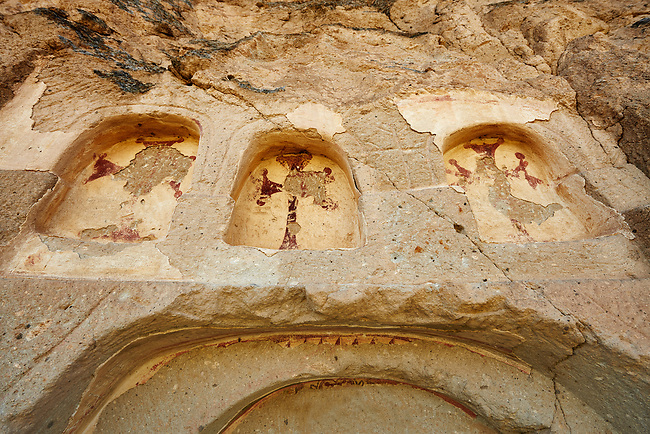 "Pictures & images of the exterior of the Comlekci Church,  10th century, the Vadisi Monastery Valley, ""Manastır Vadisi"",  of the Ihlara Valley, Guzelyurt , Aksaray Province, Turkey.<br /> <br /> Comlekci Church is a Roman Byzantine church dating from the 10th century. the south section of the roof frescoes depict the Evangel, Christmas and the adoration of the magi. The northern panel frescoes depict Christ and the Cross."