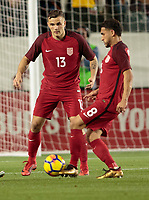 Carson, CA - Sunday January 28, 2018: Jordan Morris, Cristian Roldan during an international friendly between the men's national teams of the United States (USA) and Bosnia and Herzegovina (BIH) at the StubHub Center.